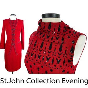 ST.JOHN EVENING Red + Black Knits Skirt Suit 6/8 M